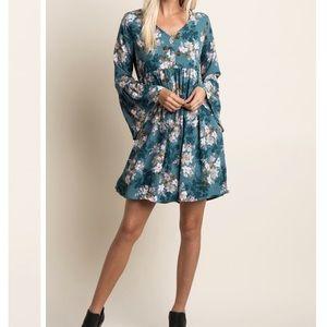 NWT Teal Floral Babydoll Chiffon Dress